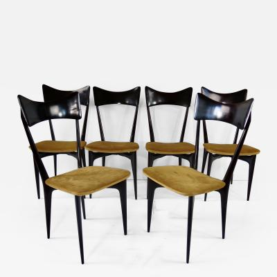 Ico Luisa Parisi Set of Six Ico and Luisa Parisi Ebonized Dining Chairs by Ariberto Colombo 1952