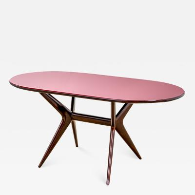 Ico Parisi 20th Century Ico Parisi Table in wood and glass produced by Fratelly Rizzi