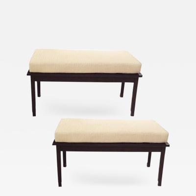 Ico Parisi A Pair of Two Seat Mid Century Benches in the style of Ico Parisi