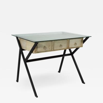Ico Parisi Architectural Steel and Parchment Desk in the style Ico Parisi Style