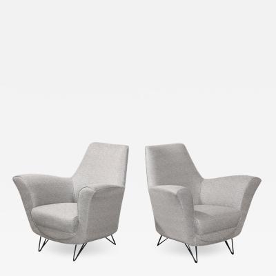 Ico Parisi Elegant Pair of Lounge Chairs attributed to Ico Parisi