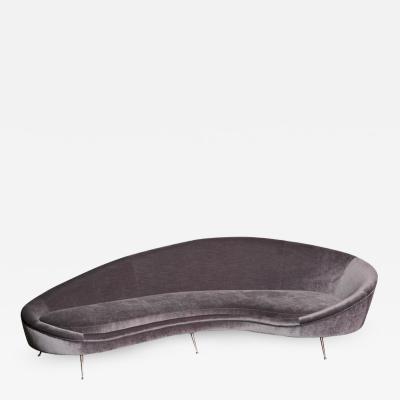 Ico Parisi Huge Italian Velvet Sofa in the Manner of Ico Parisi