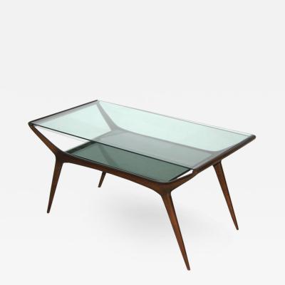 Ico Parisi Ico Parisi 1950s Italian Modern Two Tier Mahogany and Glass Sofa or Coffee Table