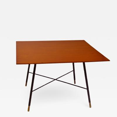 Ico Parisi Ico Parisi Coffee Table in Brass with Squared Wood top from 1950s