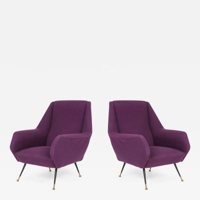 Ico Parisi Ico Parisi Easy Chairs with Purple Upholstery 1950s