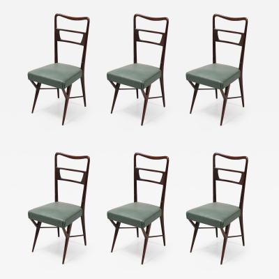 Ico Parisi Ico Parisi Italian Dining Room Chairs Mahogany and Skai 1960s