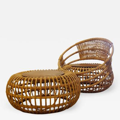 Ico Parisi Ico Parisi Mid Century Modern Outdoor Set in Rattan for Bonacina 1956