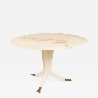Ico Parisi Ico Parisi Round Marble Top Table with Three Brass Footed Legs
