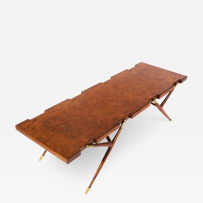 Ico Parisi Ico Parisi Sculptural Coffee Table in Burled Walnut with Brass Fittings 1950s