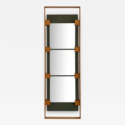 Ico Parisi Ico Parisi Teak and Green Suede Wall Mirror