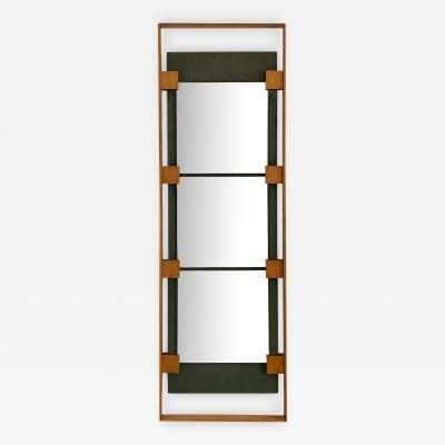Ico Parisi Ico Parisi Teak and Green Suede Wall Mirror