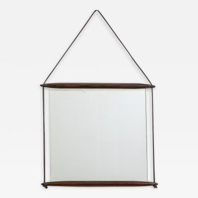 Ico Parisi Ico Parisi Wall Mirror for MIM in Wood and Leather Ribbon of 50s