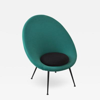 Ico Parisi Ico Parisi in the style of Round Armchair with Green Upholstery