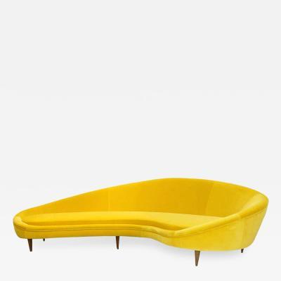 Ico Parisi In The Style Of Ico Parisi Yellow Cotton Velvet Italian Curved Sofa