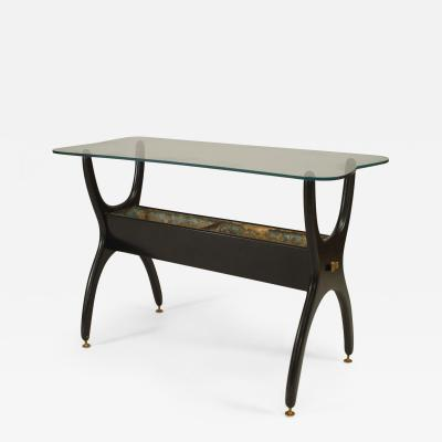 Ico Parisi Italian 1950s Ebonized End Table with X Form Sides