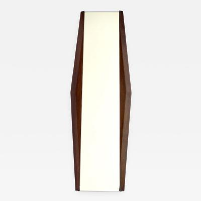 Ico Parisi Italian Carved Faceted Chestnut Framed Wood Wall Mirror Attributed to Ico Parisi