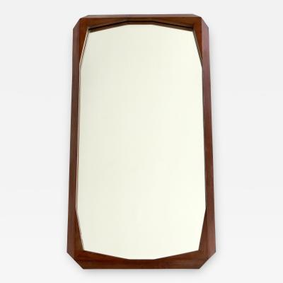 Ico Parisi Italian Carved Faceted Walnut Wood Wall Mirror Attributed to Ico Parisi