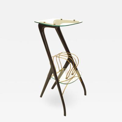 Ico Parisi Italian Ebonized Wood and Glass Magazine Rack Table