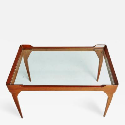 Ico Parisi Italian Glass Top Teak Wood Coffee Table in the Style of Ico Parisi