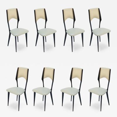 Ico Parisi Italian Ico Parisi Style 1960s Ebonized Dining Chairs