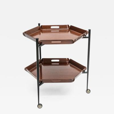Ico Parisi Italian Modern Two Tier Rolling Tray Table Ico Parisi