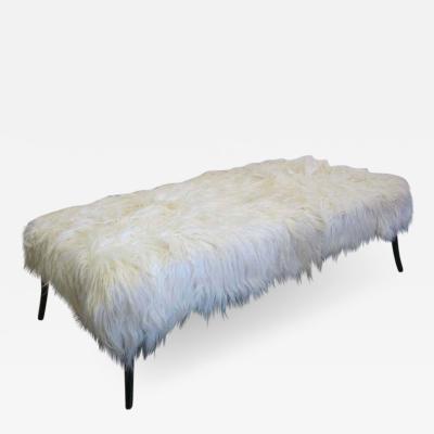 Ico Parisi Large Long Hair Italian Mid Century Modern Style Goatskin Bench Ico Parisi