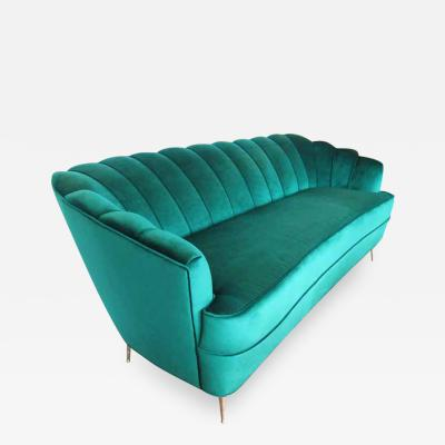 Ico Parisi Mid Century Modern Italian Settee Emerald Green Velvet Italy 1950