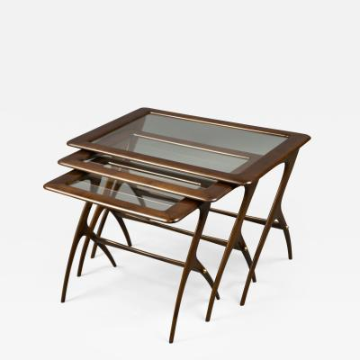 Ico Parisi Nest of Three Tables Attributed to Ico Parisi Italy 1950s