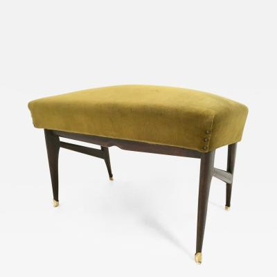 Ico Parisi Olive Green Velvet Pouf in the style of Ico Parisi with Ebonized Wood Structure