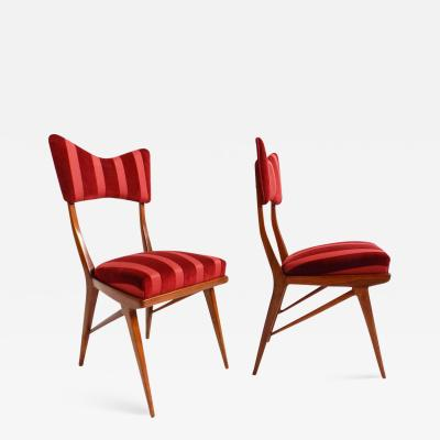Ico Parisi Pair of Chairs Ico Parisi style reupholstered with striped Rubelli Fabric