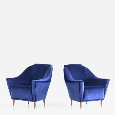 Ico Parisi Pair of Ico Parisi Armchairs in Blue Mohair Velvet 1951