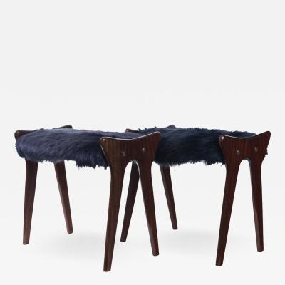 Ico Parisi Pair of Italian Mid Century stools in mahogany Ico Parisi