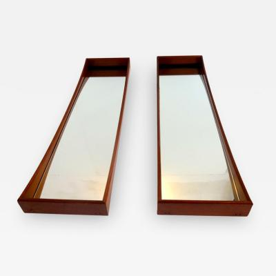 Ico Parisi Pair of Walnut Ico Parisi Curved Wall Mirrors 1950