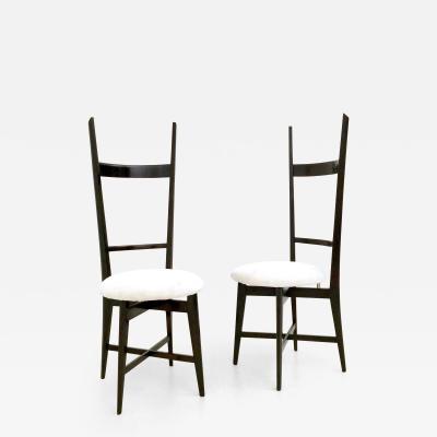 Ico Parisi Pair of White Velvet Chiavarine Chairs in the style of Ico Parisi Italy 1950s