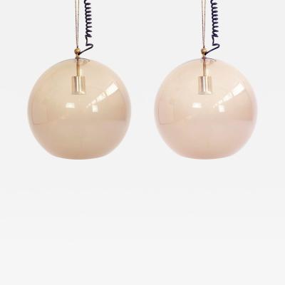 Ico Parisi Rare pair of Arteluce Smoked Glass Ball Pendants
