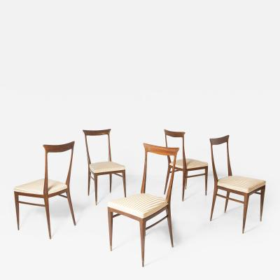 Ico Parisi Set of Five Italian Chairs Attr to Ico Parisi in Wood and Satin