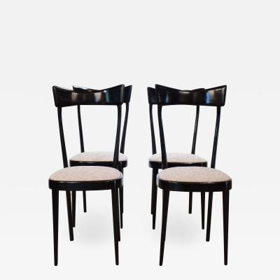 Ico Parisi Set of Four Italian Midcentury Dining Chairs in the Manner of Ico Parisi 1950