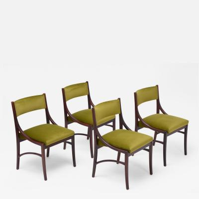 Ico Parisi Set of four Mid Century Modern Green reupholstered Dining Chairs by Ico Parisi