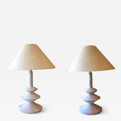 Iconic Pair of French Plaster Lamps by Jacques Grange for Yves Saint Laurent