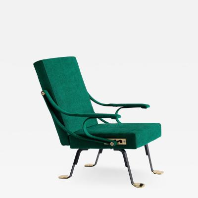 Ignazio Gardella Ignazio Gardella Digamma Armchair in Emerald Green Leli vre Fabric and Brass