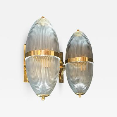 Ignazio Gardella Pair of Large Mid Century Modern Clear Glass Brass Italian Sconces or Lanterns