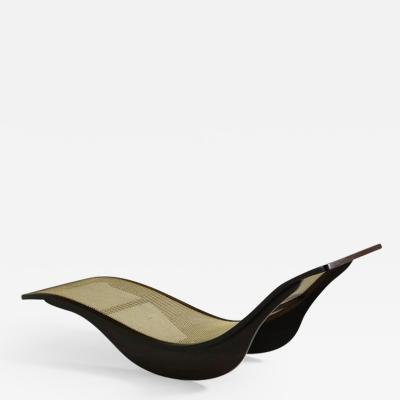 Igor Rodrigues Contemporary Brazilian Chaise Longue by Igor Rodrigues in Hardwood and Cane