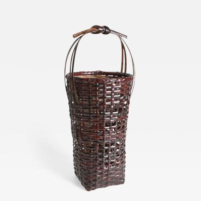 Iizuka Rokansai Lofty Handled Flower Basket