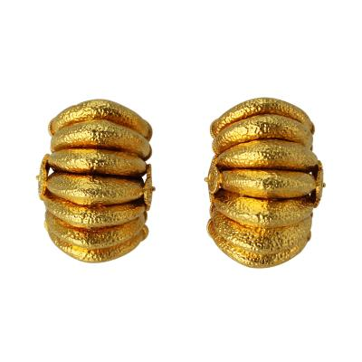 Ilias Lalaounis Pair of 18 Karat Gold Earclips by Lalaounis Greece