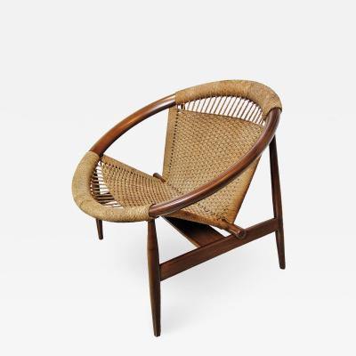 Illum Wikkels Illum Wikkelso Ringstol Teak and Woven Cord Ring Chair