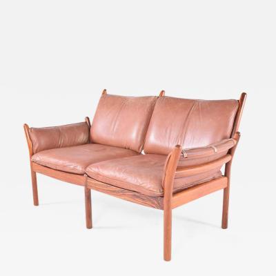 Illum Wikkels Midcentury Danish Rosewood and Leather Sofa by Illum Wikkels for CFC Silkeborg