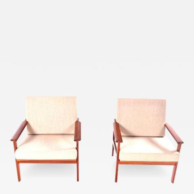 Illum Wikkels Midcentury Pair of Illum Wikkelso Teak Easy Chairs 1960s