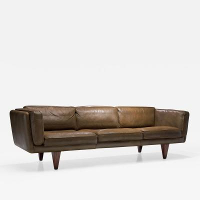 Illum Wikkels Model V11 Three Seater Leather Sofa by Illum Wikkels Denmark 1960s