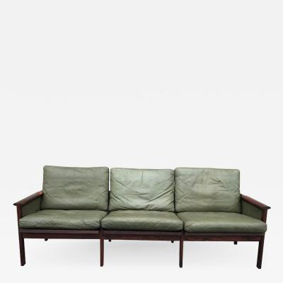 Illum Wikkels S 21 gret leather and hardwood sofa by Illum Wikkelso