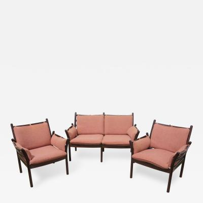 Illum Wikkels Settee Matching Armchairs by Illum Wikkels for CFC Silkeborg